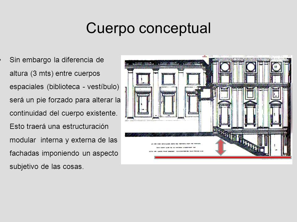 Cuerpo conceptual La diferencia de altura entre espacios es articulada por la escala como cuerpo arquitectónico que marca transición entre un espacio y otro (ascensión al conocimiento) estableciendo una condición jerárquica entre espacios.