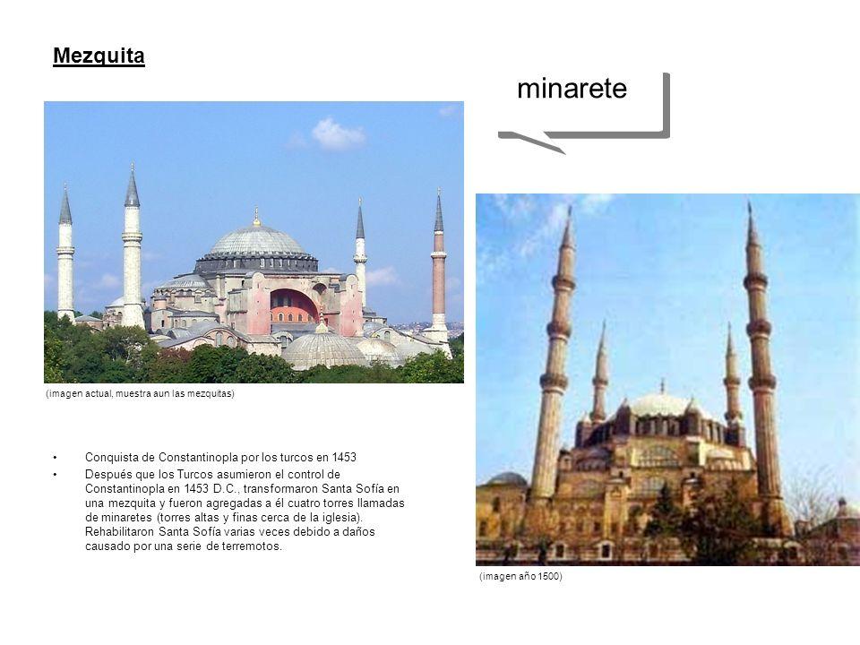 Conquista de Constantinopla por los turcos en 1453 Después que los Turcos asumieron el control de Constantinopla en 1453 D.C., transformaron Santa Sof