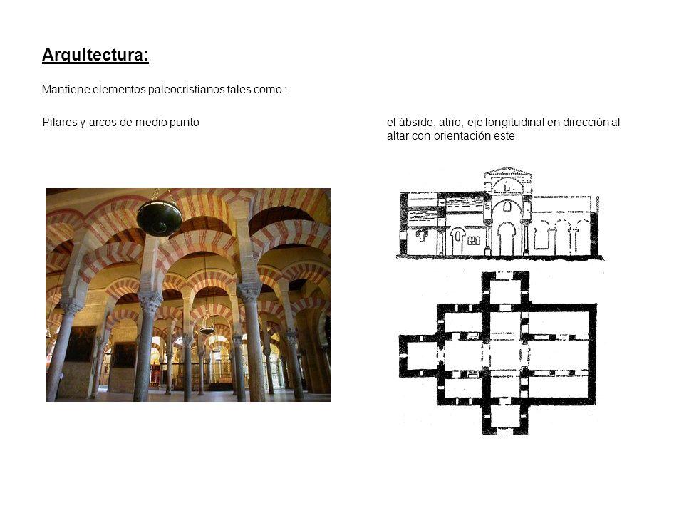 Arquitectura: Mantiene elementos paleocristianos tales como : el ábside, atrio, eje longitudinal en dirección al altar con orientación este Pilares y