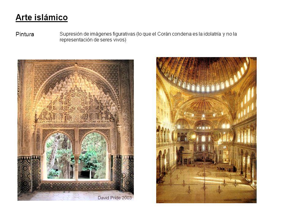 Arte islámico Pintura Supresión de imágenes figurativas (lo que el Corán condena es la idolatría y no la representación de seres vivos)