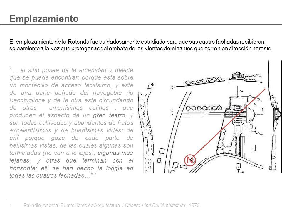 El emplazamiento de la Rotonda fue cuidadosamente estudiado para que sus cuatro fachadas recibieran soleamiento a la vez que protegerlas del embate de