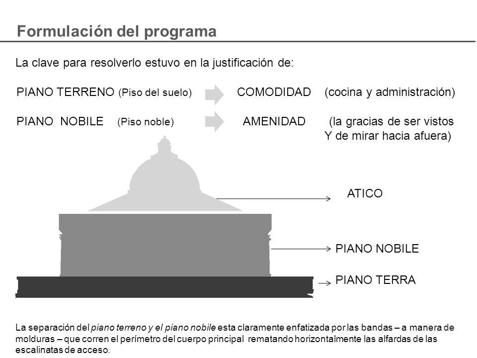 Formulación del programa La clave para resolverlo estuvo en la justificación de: PIANO TERRENO (Piso del suelo) COMODIDAD (cocina y administración) PI