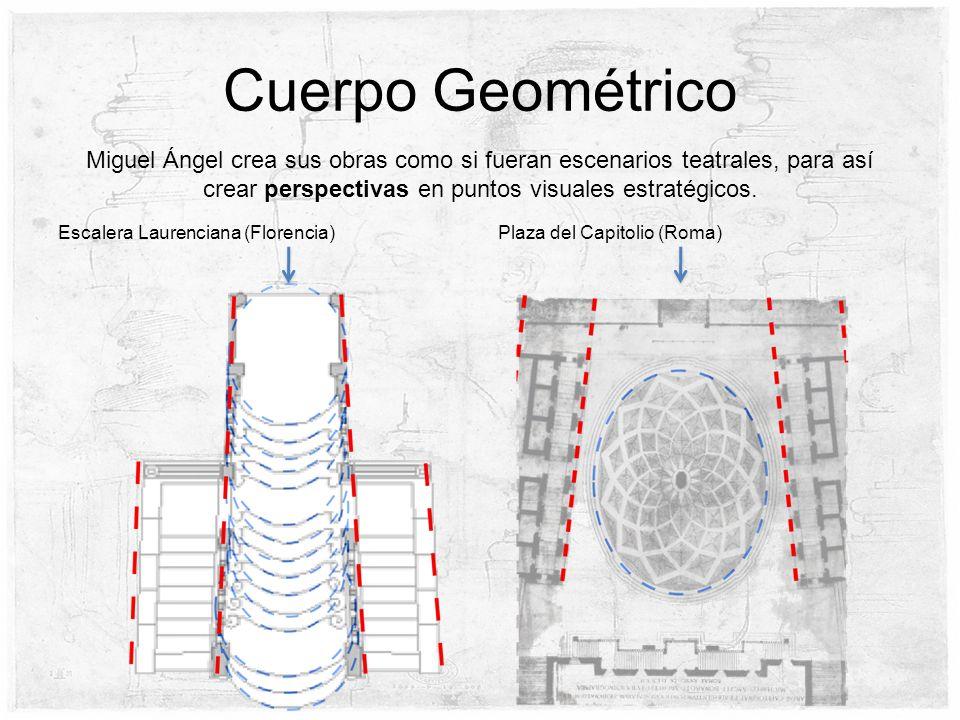Cuerpo Geométrico Miguel Ángel crea sus obras como si fueran escenarios teatrales, para así crear perspectivas en puntos visuales estratégicos. Plaza