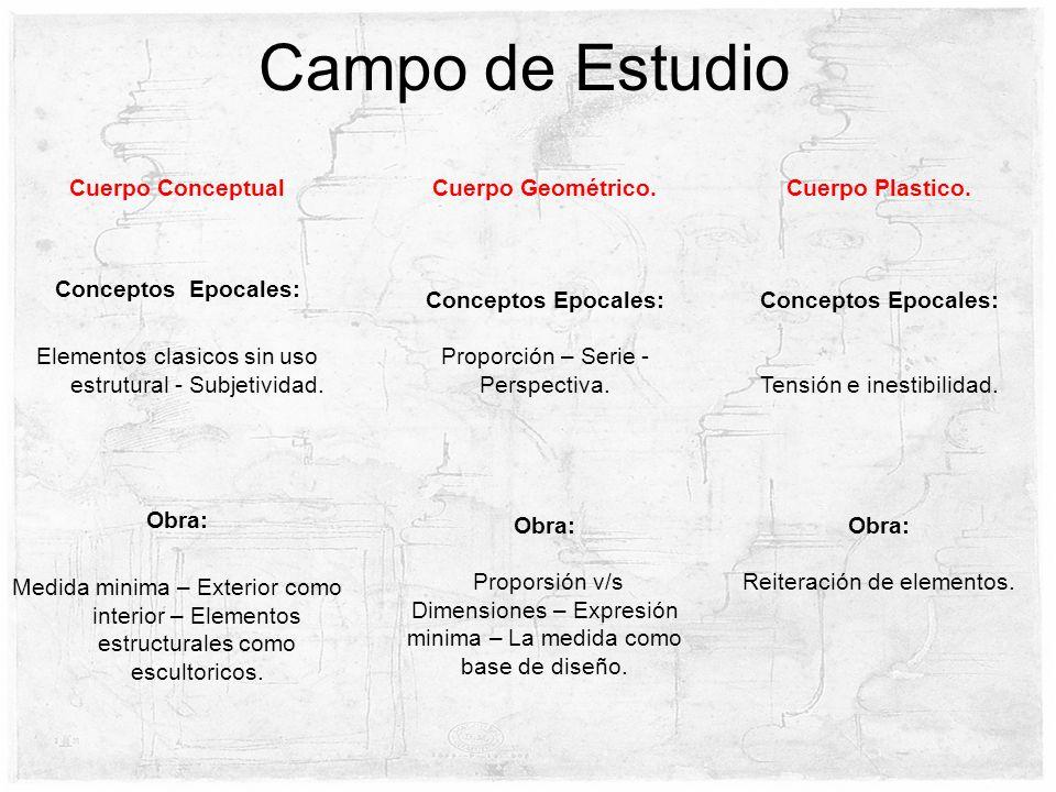 Cuerpo Conceptual Conceptos Epocales: Elementos clasicos sin uso estrutural - Subjetividad. Obra: Medida minima – Exterior como interior – Elementos e