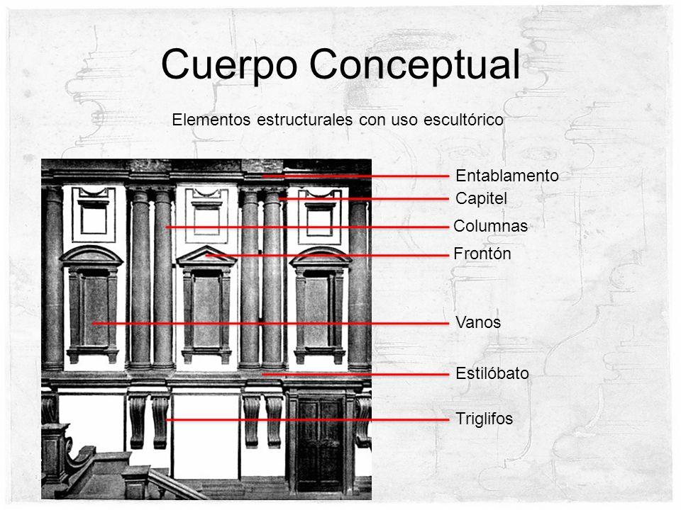 Cuerpo Conceptual Columnas Frontón Capitel Triglifos Estilóbato Vanos Elementos estructurales con uso escultórico Entablamento