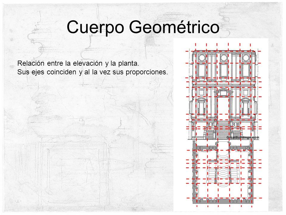 Cuerpo Geométrico Relación entre la elevación y la planta. Sus ejes coinciden y al la vez sus proporciones.