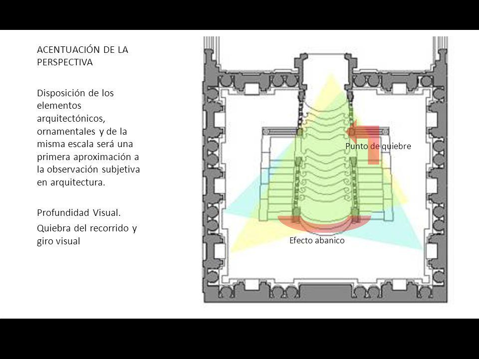 ACENTUACIÓN DE LA PERSPECTIVA Disposición de los elementos arquitectónicos, ornamentales y de la misma escala será una primera aproximación a la obser