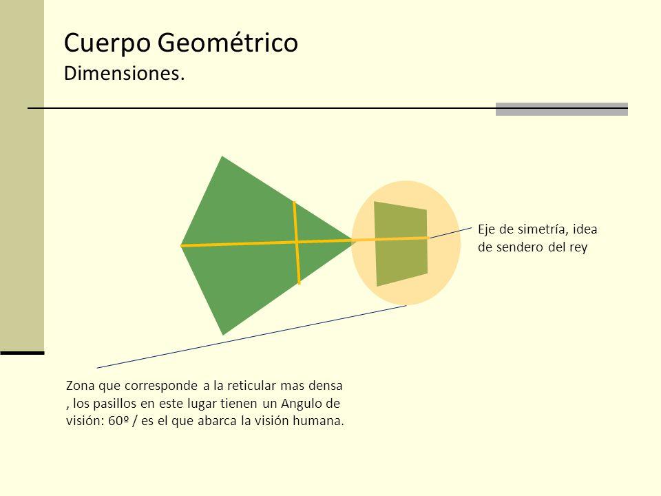 Cuerpo Geométrico Dimensiones. Zona que corresponde a la reticular mas densa, los pasillos en este lugar tienen un Angulo de visión: 60º / es el que a