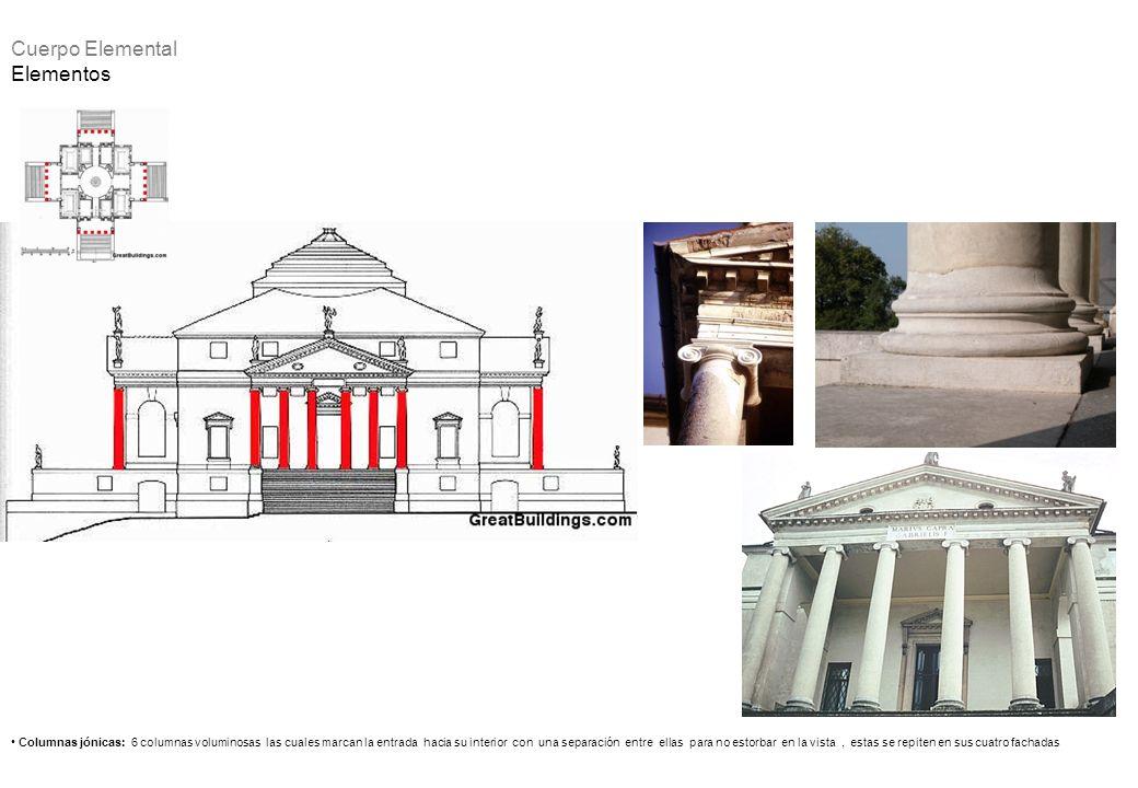 Columnas jónicas: 6 columnas voluminosas las cuales marcan la entrada hacia su interior con una separación entre ellas para no estorbar en la vista, e