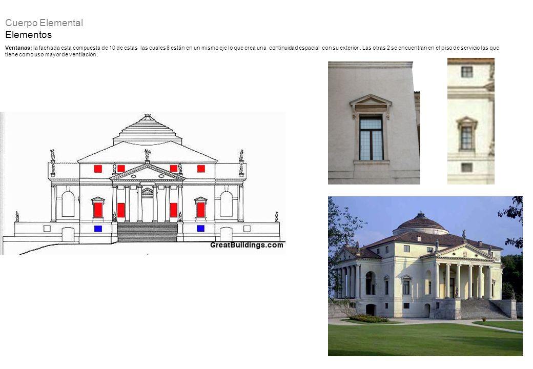 Ventanas: la fachada esta compuesta de 10 de estas las cuales 8 están en un mismo eje lo que crea una continuidad espacial con su exterior. Las otras