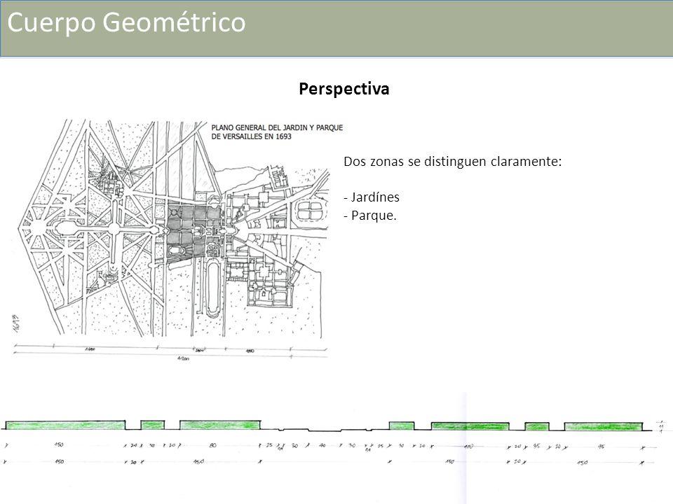 Dos zonas se distinguen claramente: - Jardínes - Parque. Perspectiva Cuerpo Geométrico
