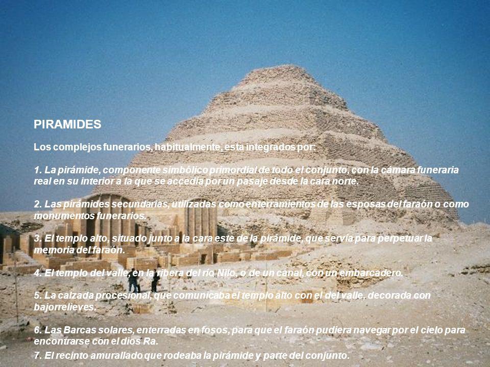 PIRAMIDES Los complejos funerarios, habitualmente, esta integrados por: 1. La pirámide, componente simbólico primordial de todo el conjunto, con la cá