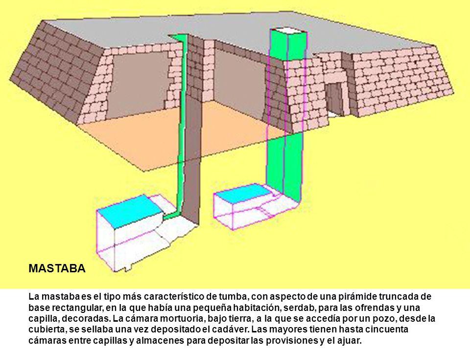 MASTABA La mastaba es el tipo más característico de tumba, con aspecto de una pirámide truncada de base rectangular, en la que había una pequeña habit