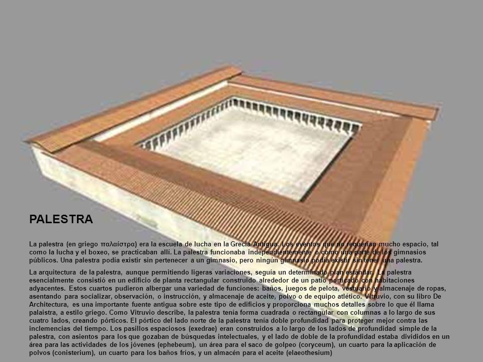 PALESTRA La palestra (en griego παλαίστρα) era la escuela de lucha en la Grecia Antigua. Los eventos que no requerían mucho espacio, tal como la lucha