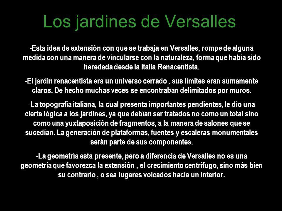 Los jardines de Versalles - Esta idea de extensión con que se trabaja en Versalles, rompe de alguna medida con una manera de vincularse con la natural