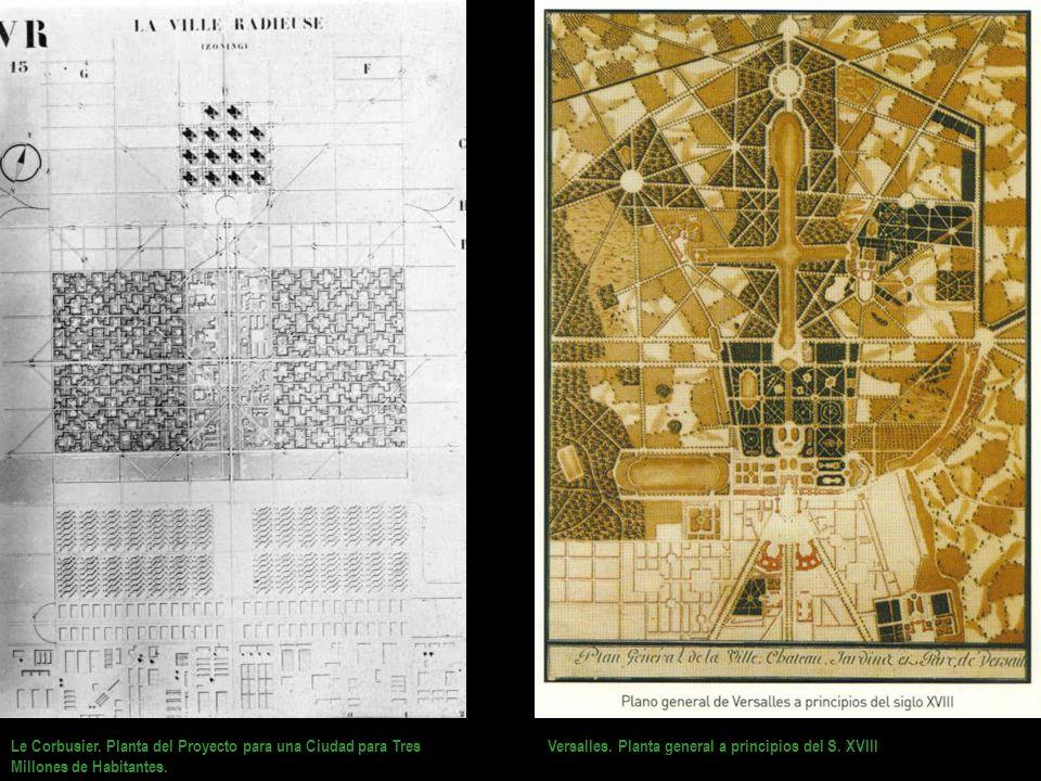 Le Corbusier. Planta del Proyecto para una Ciudad para Tres Millones de Habitantes. Versalles. Planta general a principios del S. XVIII