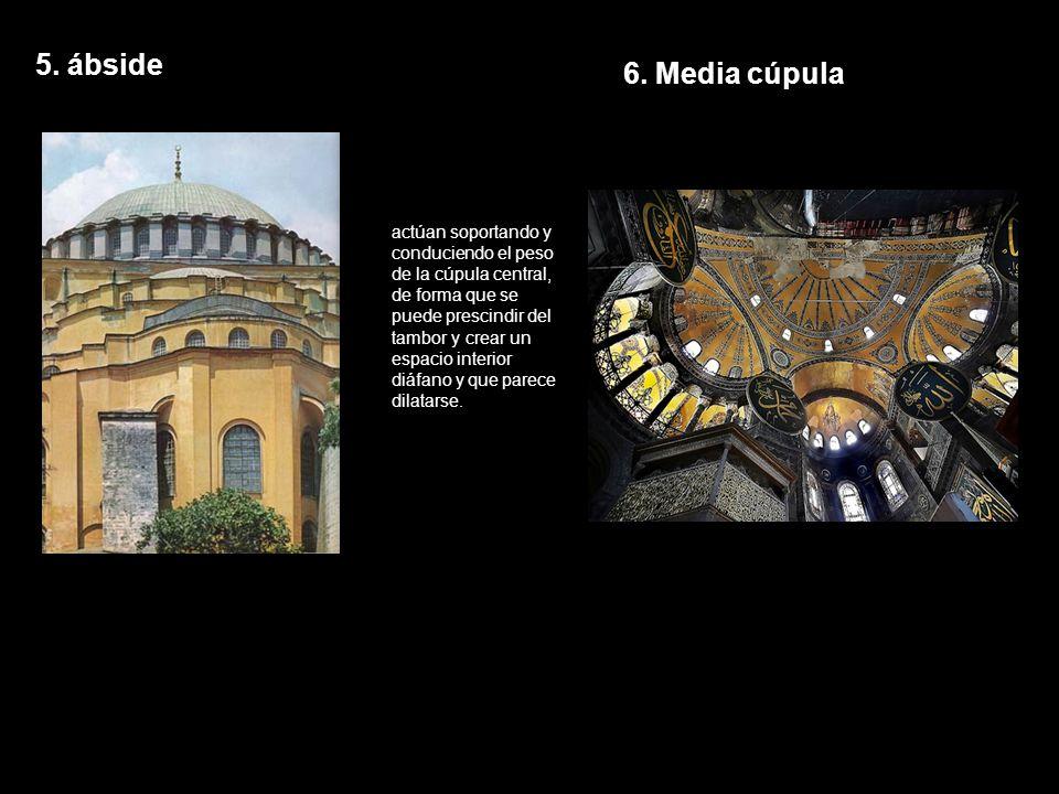5. ábside actúan soportando y conduciendo el peso de la cúpula central, de forma que se puede prescindir del tambor y crear un espacio interior diáfan