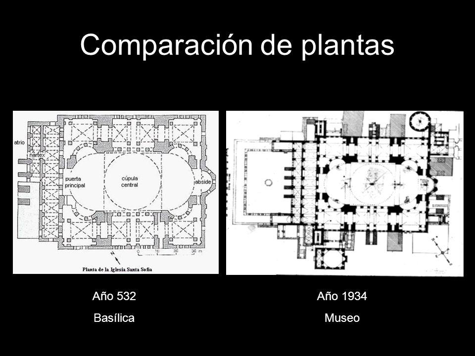 Comparación de plantas Año 532 Basílica Año 1934 Museo
