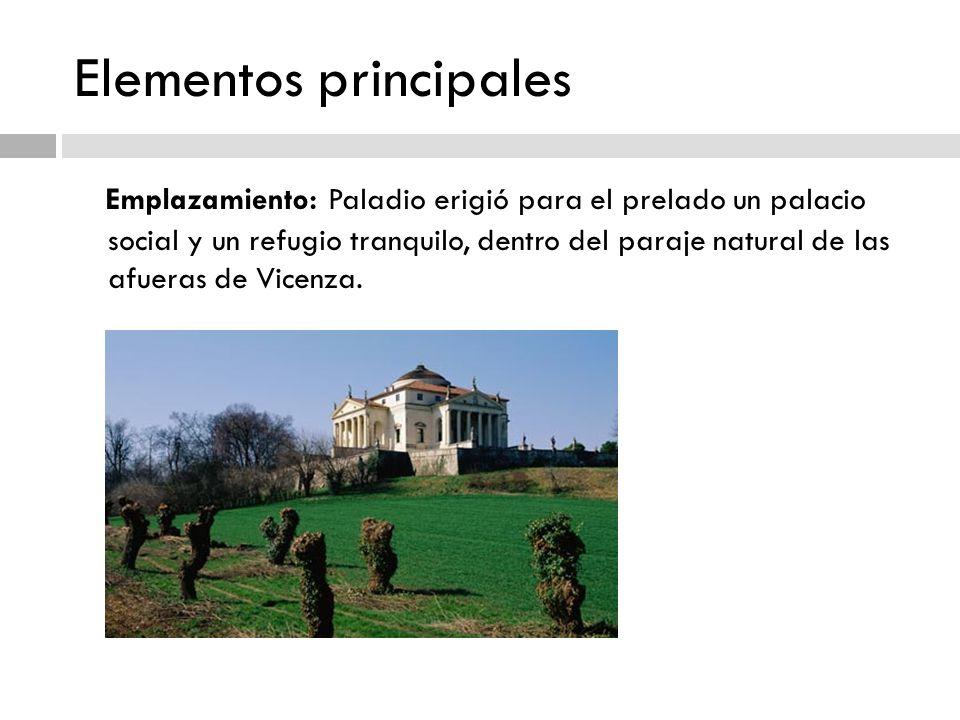Elementos principales Emplazamiento: Paladio erigió para el prelado un palacio social y un refugio tranquilo, dentro del paraje natural de las afueras