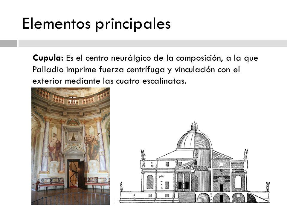 Elementos principales Cupula: Es el centro neurálgico de la composición, a la que Palladio imprime fuerza centrífuga y vinculación con el exterior med