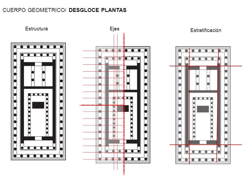 Estructura Estratificación Ejes CUERPO GEOMETRICO/ DESGLOCE PLANTAS