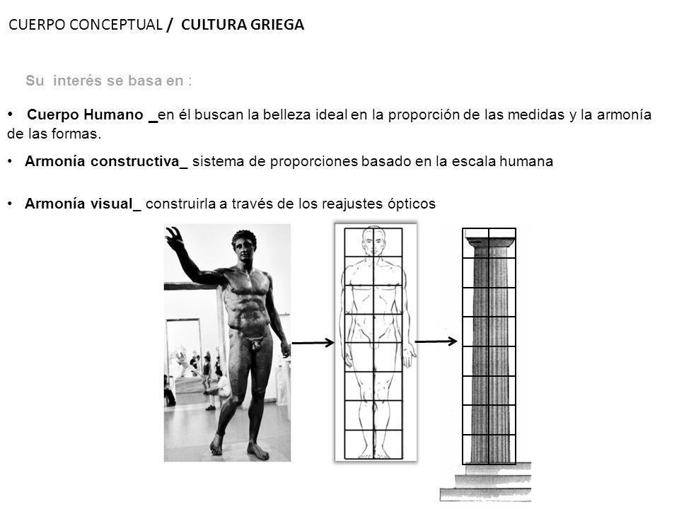Su interés se basa en : Armonía visual_ construirla a través de los reajustes ópticos Armonía constructiva_ sistema de proporciones basado en la escal