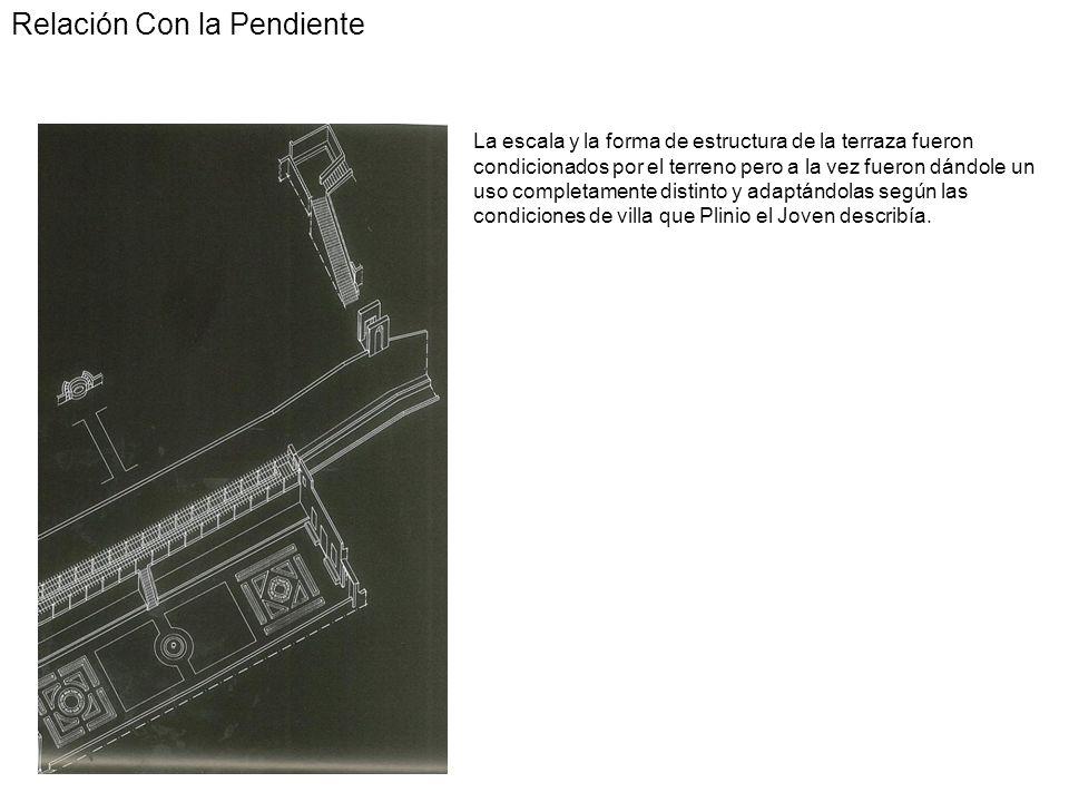 Relación Con la Pendiente La escala y la forma de estructura de la terraza fueron condicionados por el terreno pero a la vez fueron dándole un uso com