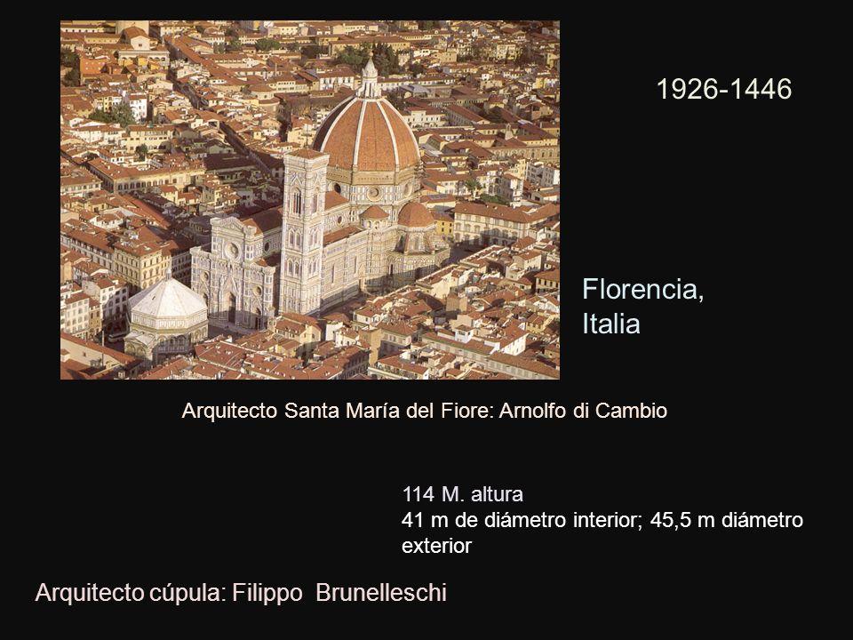 Arquitecto Santa María del Fiore: Arnolfo di Cambio Arquitecto cúpula: Filippo Brunelleschi 1926-1446 114 M. altura 41 m de diámetro interior; 45,5 m