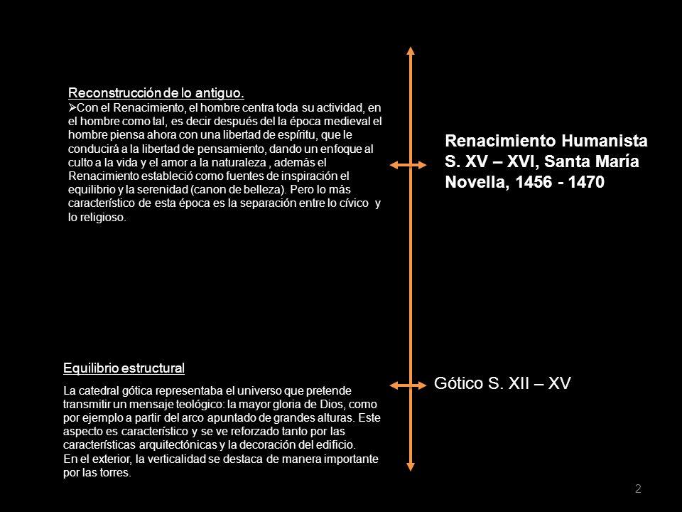 Gótico S. XII – XV Renacimiento Humanista S. XV – XVI, Santa María Novella, 1456 - 1470 Equilibrio estructural Reconstrucción de lo antiguo. Con el Re