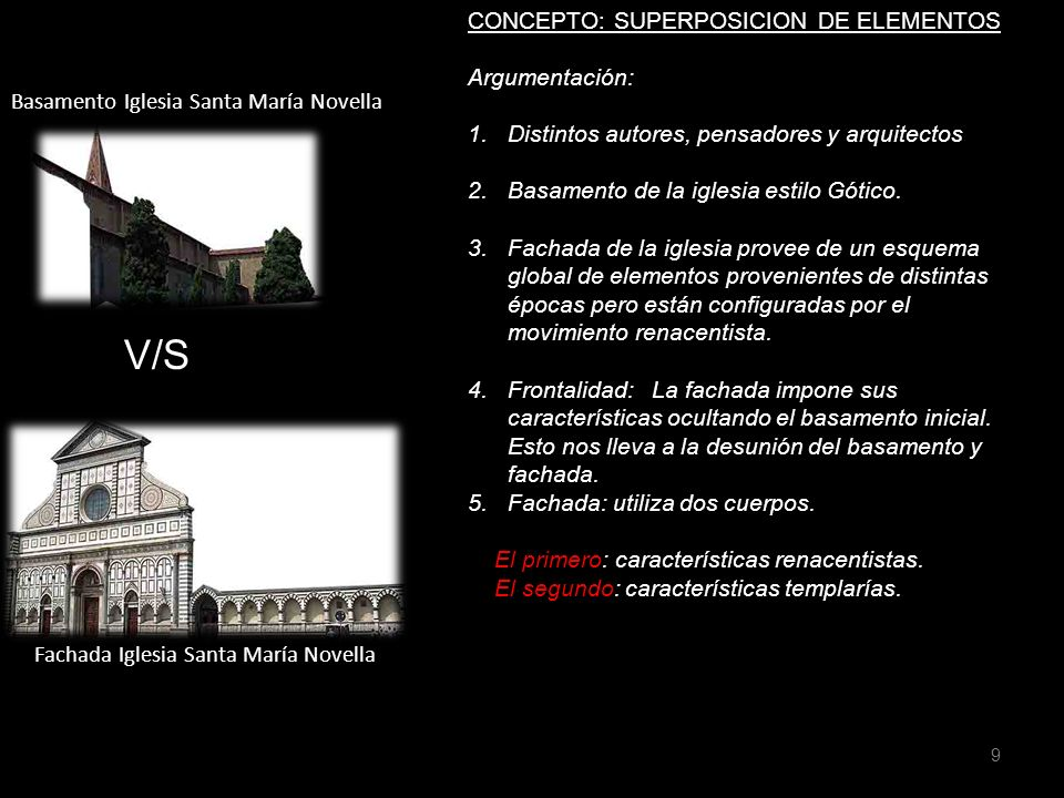 Fachada Iglesia Santa María Novella CONCEPTO: SUPERPOSICION DE ELEMENTOS Argumentación: 1.Distintos autores, pensadores y arquitectos 2.Basamento de l