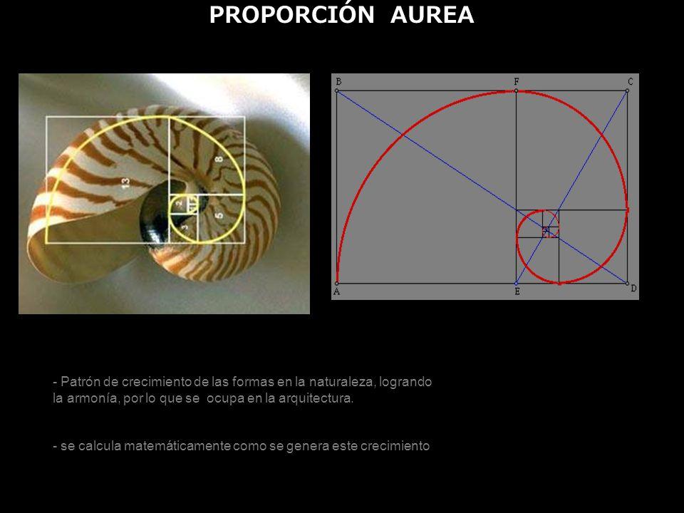PROPORCIÓN AUREA - Patrón de crecimiento de las formas en la naturaleza, logrando la armonía, por lo que se ocupa en la arquitectura. - se calcula mat