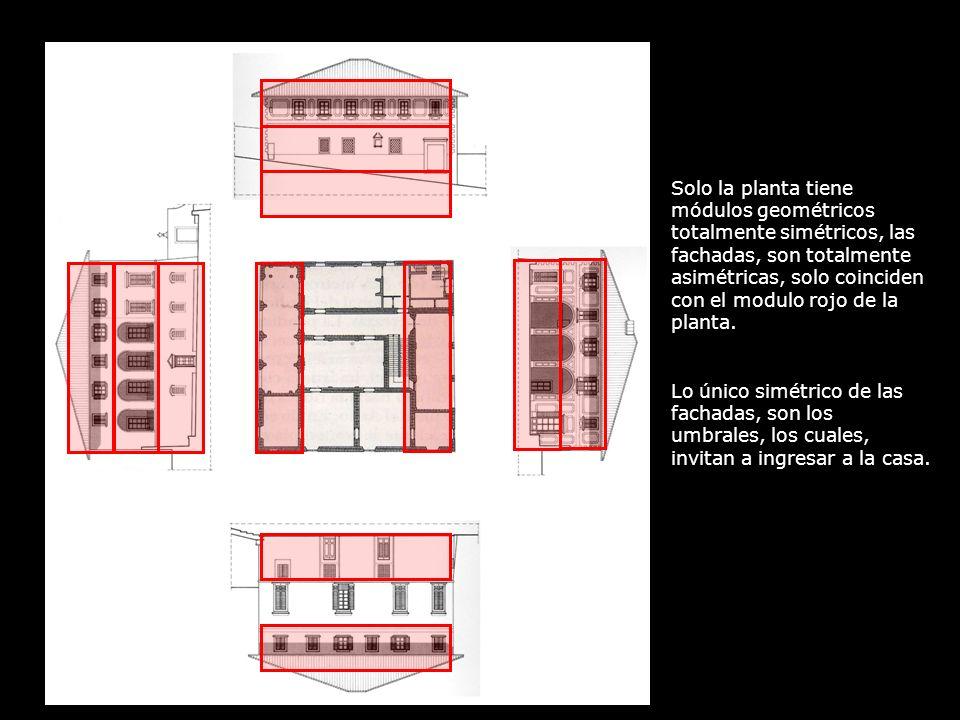 Solo la planta tiene módulos geométricos totalmente simétricos, las fachadas, son totalmente asimétricas, solo coinciden con el modulo rojo de la plan