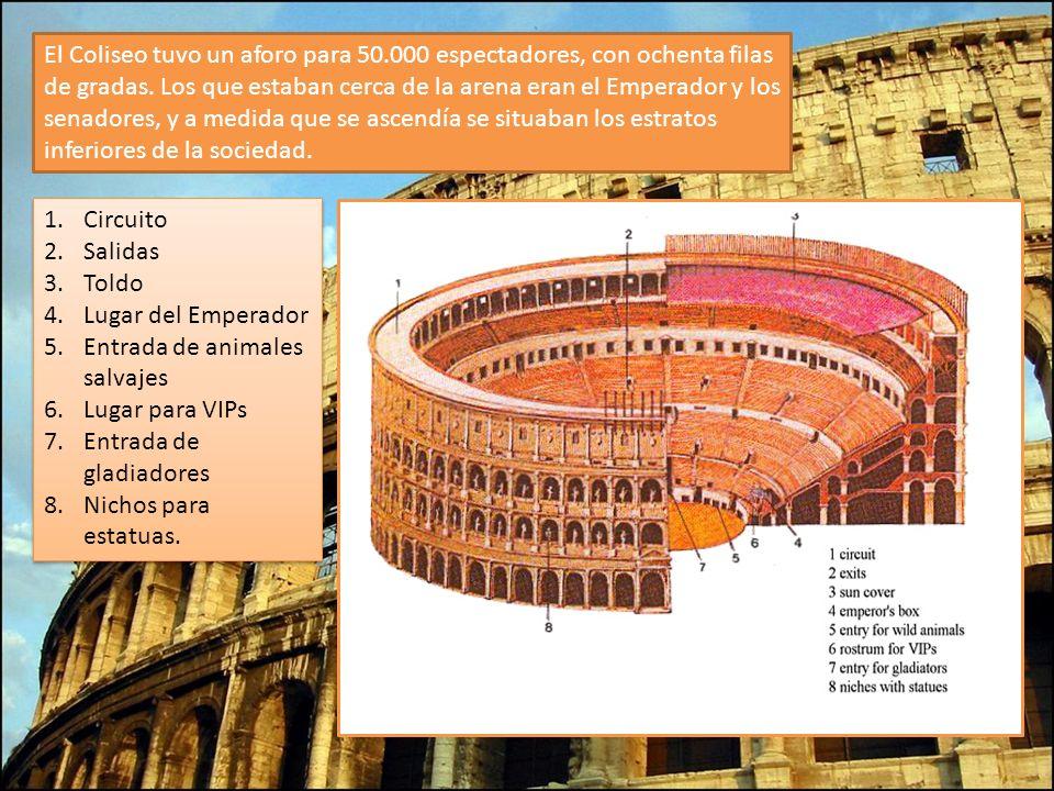El Coliseo tuvo un aforo para 50.000 espectadores, con ochenta filas de gradas. Los que estaban cerca de la arena eran el Emperador y los senadores, y