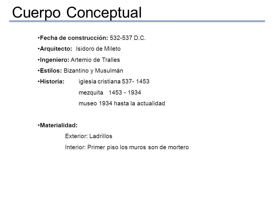 Cuerpo Conceptual Fecha de construcción: 532-537 D.C. Arquitecto: Isidoro de Mileto Ingeniero: Artemio de Tralles Estilos: Bizantino y Musulmán Histor