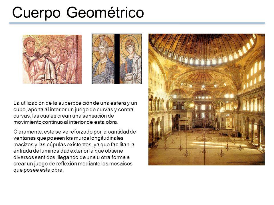 Cuerpo Geométrico La cúpula principal parece reposar sobre una franja de luz, ya que su base esta perforada por cuarenta ventanas
