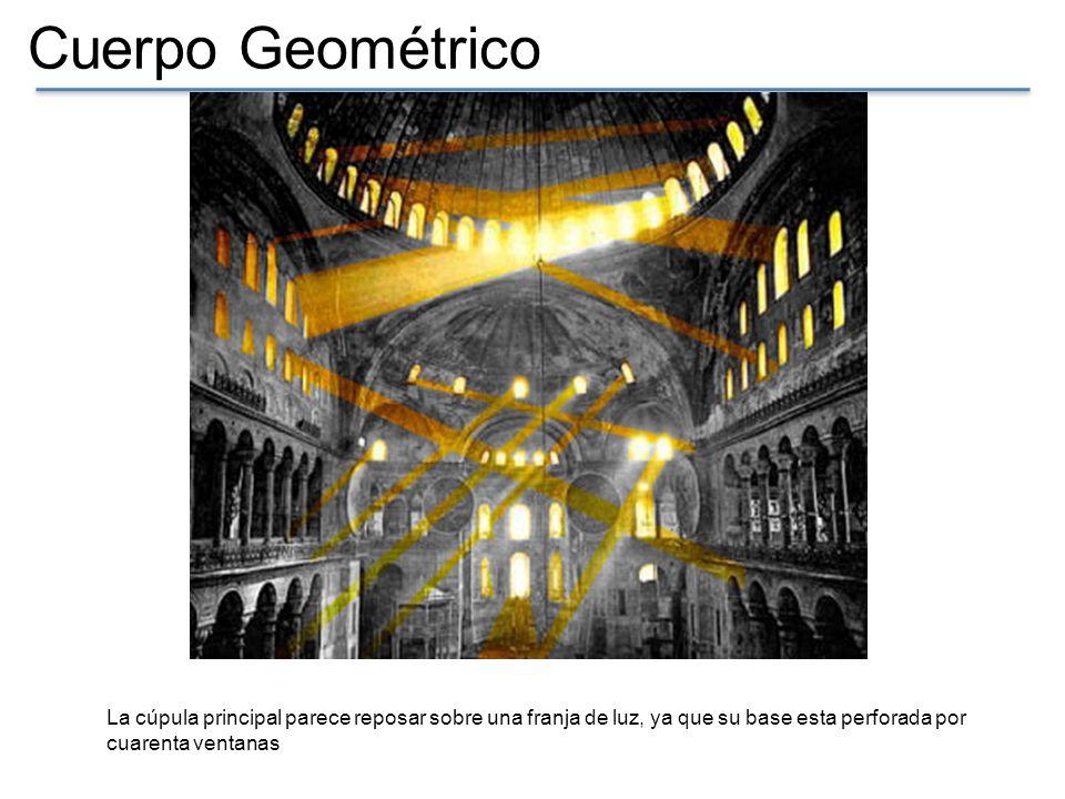 Cuerpo Geométrico El interior esta inundado de luz gracia a los cientos de orificios (ventanas) que posee la iglesia, las cuales se reflejan en los mosaicos y mármoles puestas en las paredes.
