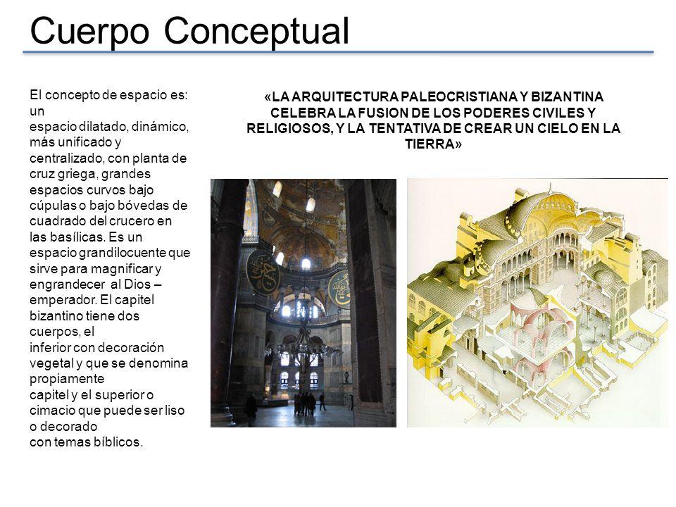 Cuerpo Conceptual El concepto de espacio es: un espacio dilatado, dinámico, más unificado y centralizado, con planta de cruz griega, grandes espacios