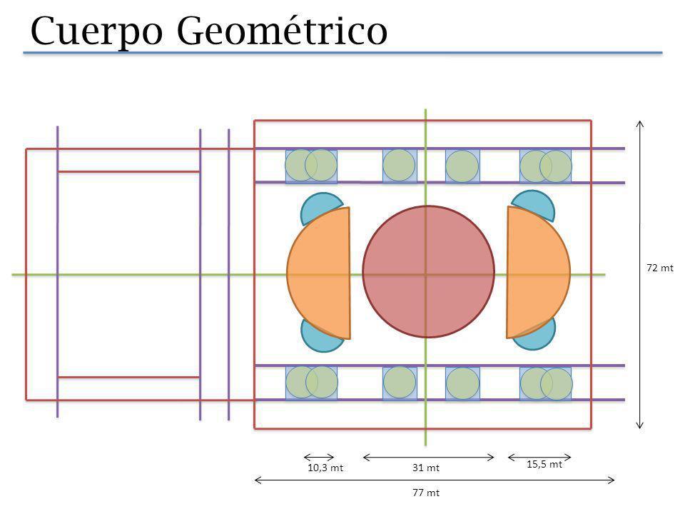 Cuerpo Geométrico 31,9 38,5 La planta tiene un gran espacio interior, este es una proyeccion de la gran cupula central de 31 mt de diametro, levantada a 38,5 mt de altura.