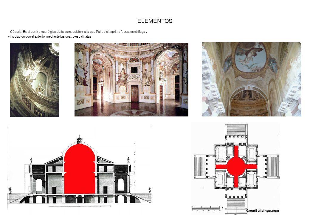 ELEMENTOS Cúpula: Es el centro neurálgico de la composición, a la que Palladio imprime fuerza centrífuga y vinculación con el exterior mediante las cu