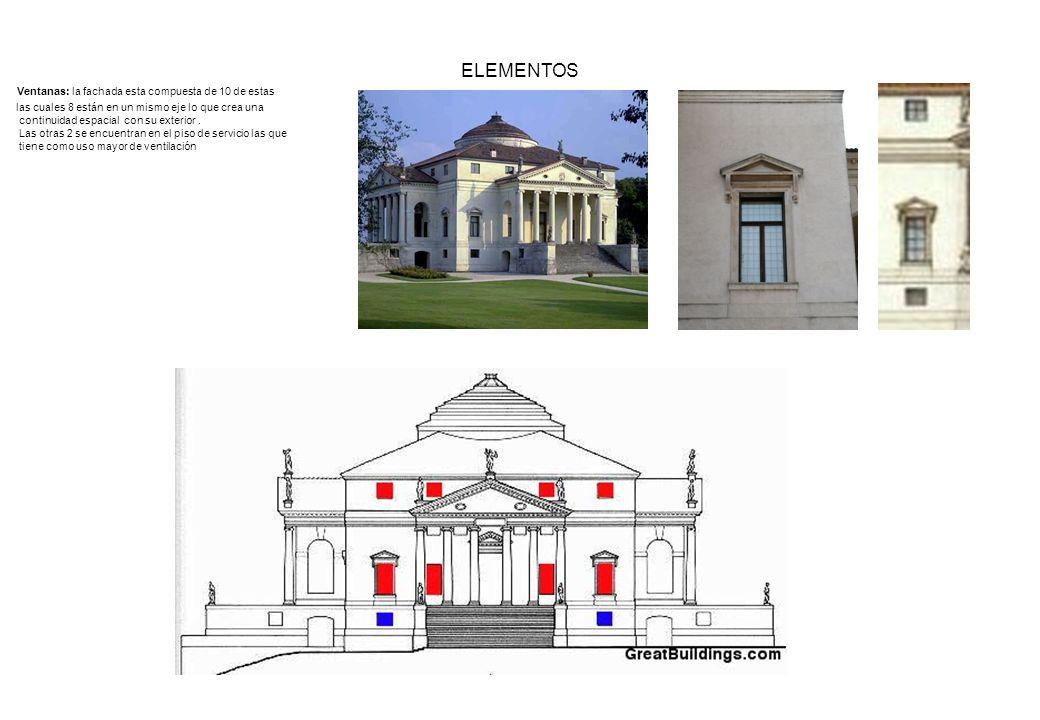 ELEMENTOS Ventanas: la fachada esta compuesta de 10 de estas las cuales 8 están en un mismo eje lo que crea una continuidad espacial con su exterior.