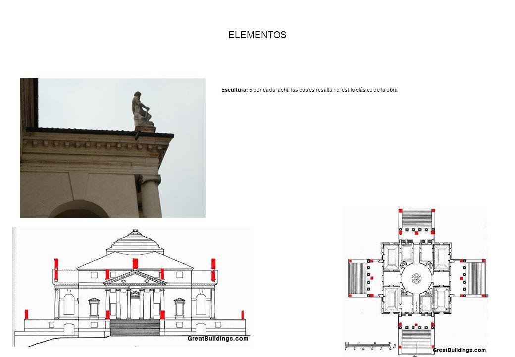 ELEMENTOS Escultura: 5 por cada facha las cuales resaltan el estilo clásico de la obra