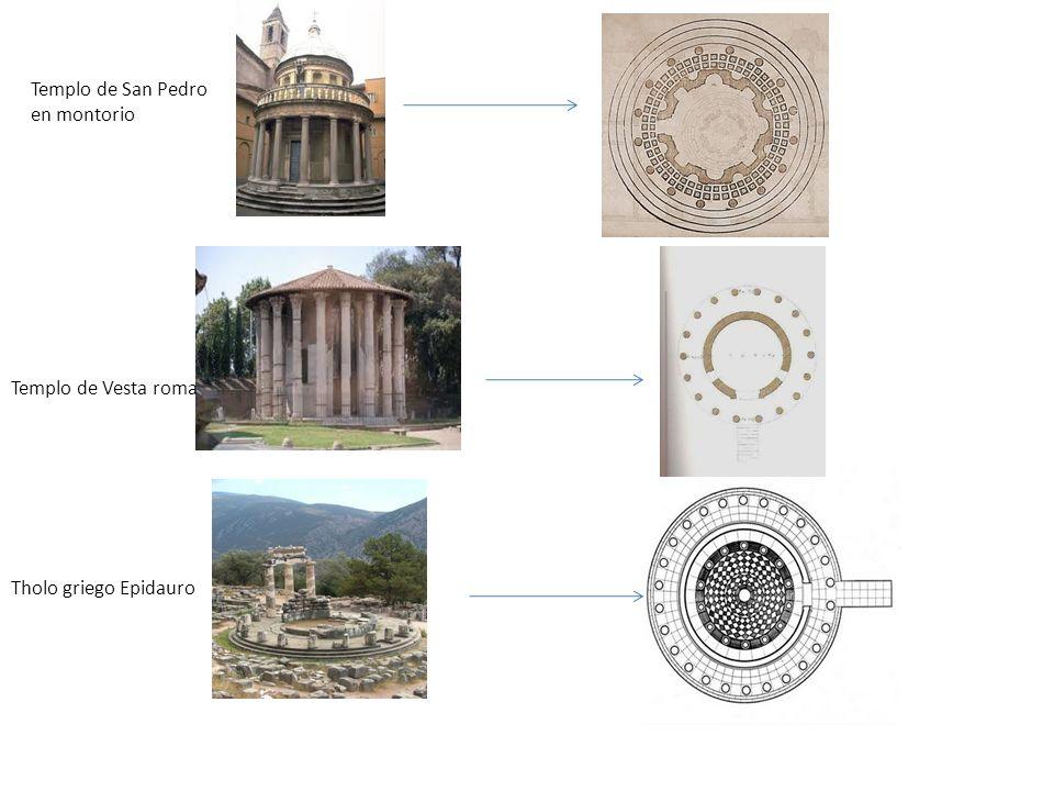 Tholo griego Epidauro Templo de Vesta roma Templo de San Pedro en montorio