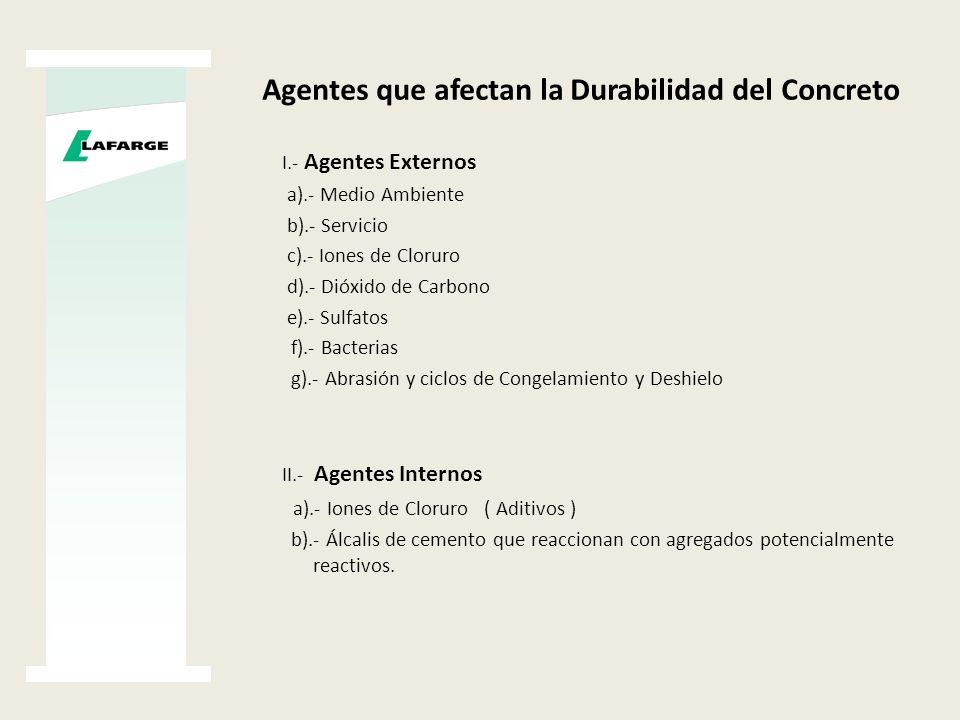 Agentes que afectan la Durabilidad del Concreto I.- Agentes Externos a).- Medio Ambiente b).- Servicio c).- Iones de Cloruro d).- Dióxido de Carbono e