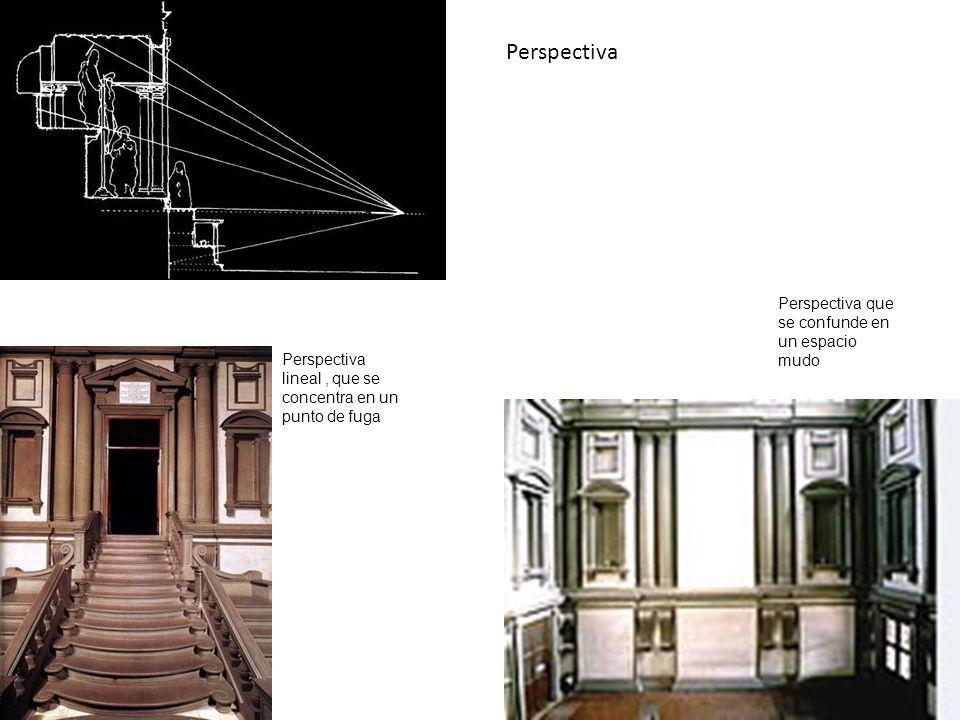 Perspectiva lineal, que se concentra en un punto de fuga Perspectiva que se confunde en un espacio mudo