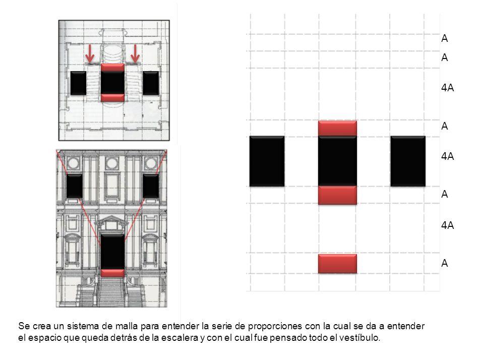 Se crea un sistema de malla para entender la serie de proporciones con la cual se da a entender el espacio que queda detrás de la escalera y con el cu