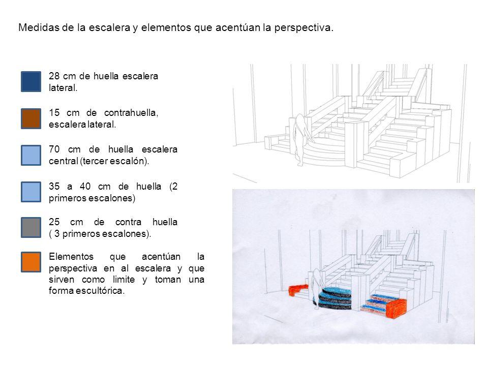 Medidas de la escalera y elementos que acentúan la perspectiva. 28 cm de huella escalera lateral. 15 cm de contrahuella, escalera lateral. 70 cm de hu