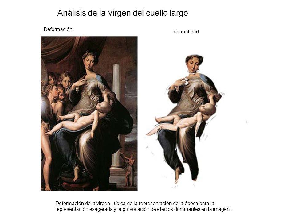 Deformación de la virgen, típica de la representación de la época para la representación exagerada y la provocación de efectos dominantes en la imagen