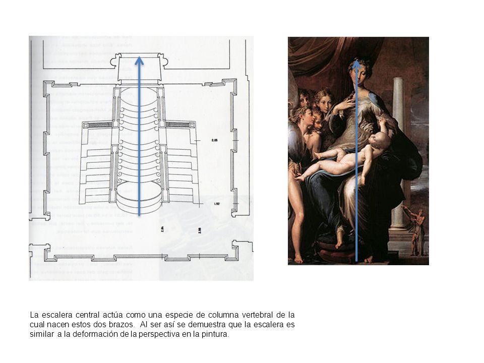 La escalera central actúa como una especie de columna vertebral de la cual nacen estos dos brazos. Al ser así se demuestra que la escalera es similar