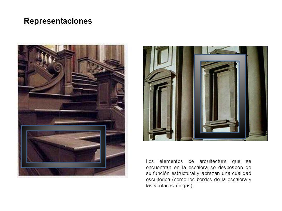 Representaciones Los elementos de arquitectura que se encuentran en la escalera se desposeen de su función estructural y abrazan una cualidad escultór