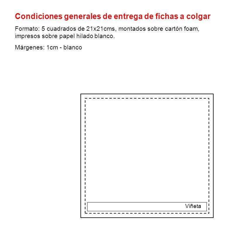Condiciones generales de entrega de fichas a colgar Formato: 5 cuadrados de 21x21cms, montados sobre cartón foam, impresos sobre papel hilado blanco.